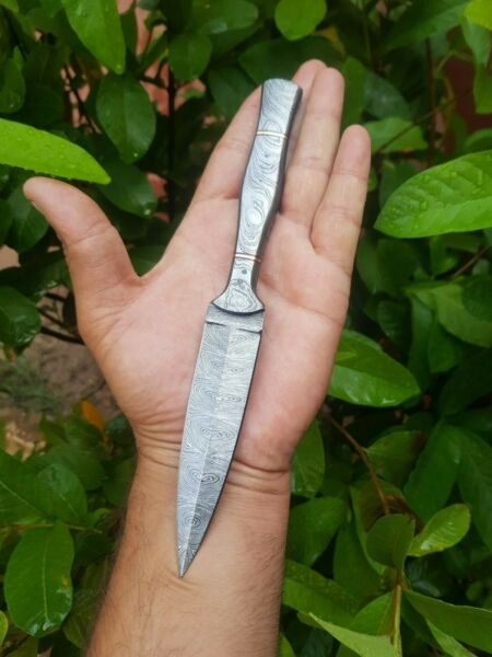 HAND FORGED DAMASCUS STEEL DAGGER THROWING BOOT KNIFE W DAMASCUS HANDLE AH.1184