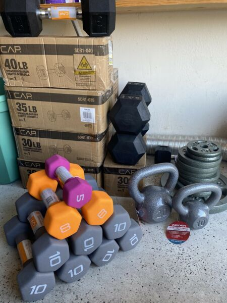 DUMBBELLS PLATES KETTLEBELLS & MORE Cast Iron Rubber 10 15 20 25 30 35 40 LB