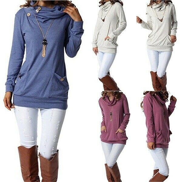 Womens Long Sleeve Button Cowl Neck Casual Slim Tunic Tops Pockets Warm Blouses $14.23