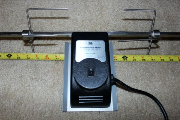 Heavy Duty BBQ Rotisserie Motor 36quot; Spit Heavy Duty 5quot; Across Fork 3 8quot; Thick