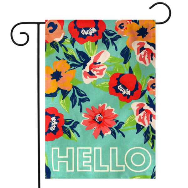 Hello Floral Spring Burlap Garden Flag Flowers Double Sided 12.5quot; x 18quot;
