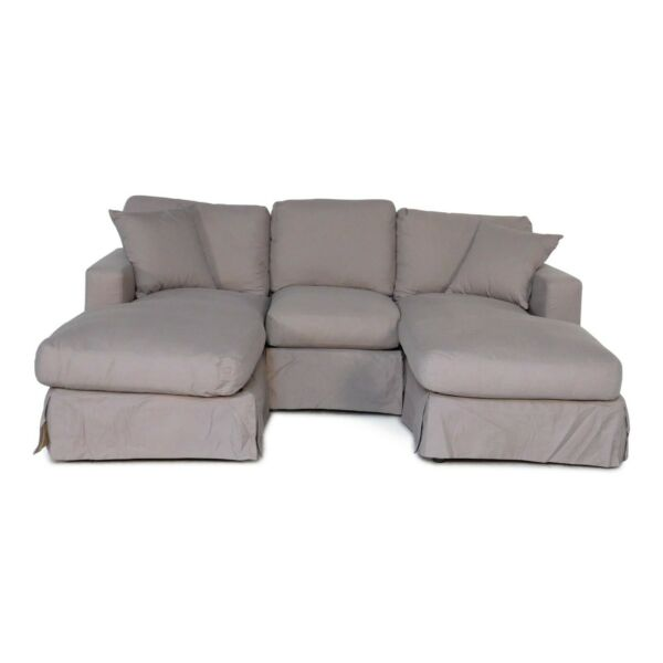 Row of 3 -  Slip Cover Sofa with Chaiseloungers - Plush Fabric