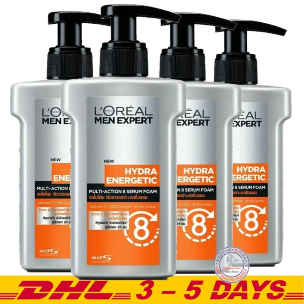 Pack 4 L'oreal Men Expert Hydra Energetic Multi Action 8 Brightening Serum Foam