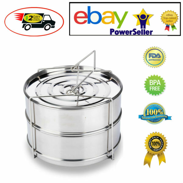 Stackable Insert Pan Stainless Cooking Accessories 6 8 Quart fits Instant Pot