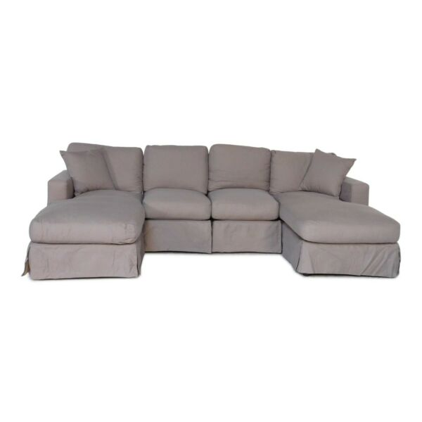 Row of 4 -  Slip Cover Sofa with Chaiseloungers - Plush Fabric