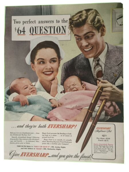 1947 Eversharp Pens Vintage Print Ad Two Perfect Answers To The $64 Question