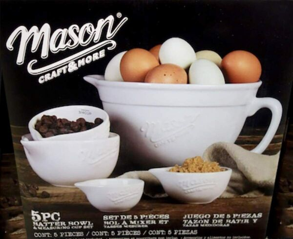 Mason Craft and More 5 Piece Batter Bowl amp; Measuring Cup Set NEW