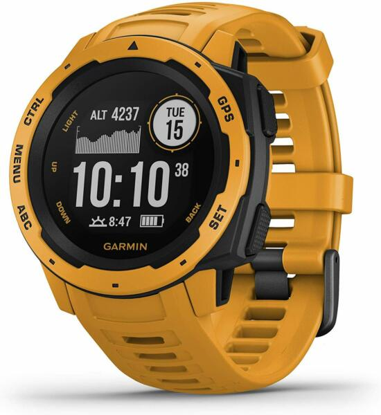 Garmin Instinct Rugged GPS Smart Fitness Watch Sunburst Yellow New
