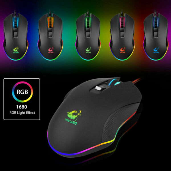 Gaming Wired Mouse 3200DPI USB RGB Flowing Backlit Light PC Laptop Computer US