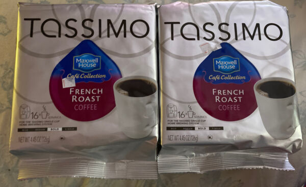 TASSIMO MAXWELL HOUSE FRENCH ROAST COFFEE DISCS PODS 2 PACKAGES. NEW
