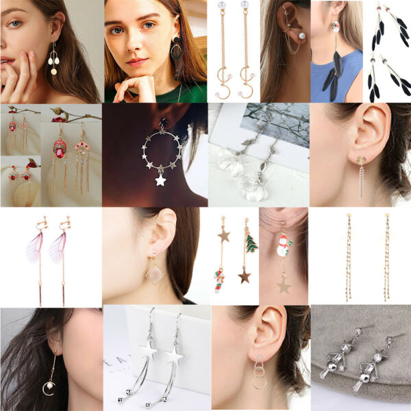 Boho Women Geometric Drop Dangle Rhinestone Crystal Pearl Earrings Ear Hook Stud