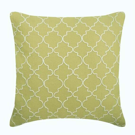 Cotton Linen Couch Pillow Cover 20x20 inch Decorative Green Green Geometric $55.29