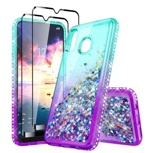 For Samsung Galaxy A20S Case Liquid Glitter Bling Cover With Full Tempered Glass
