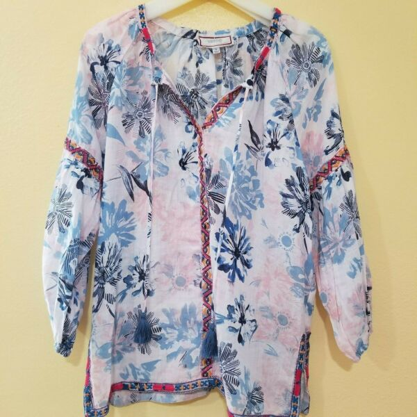 Johnny Was • Printed with Embroidery 3 4 Sleeve Top 75% OFF • 100% Ramie Linen