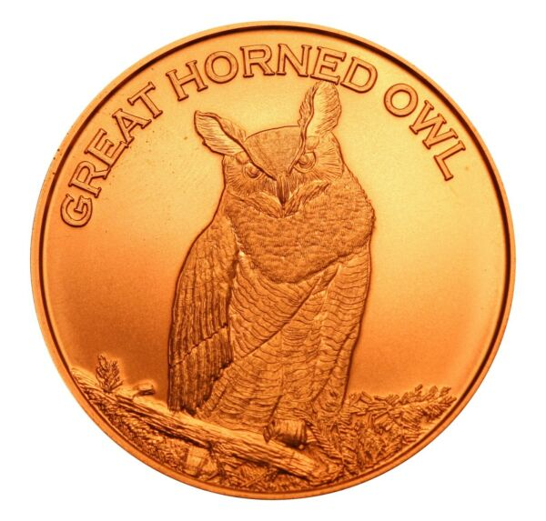 1 oz Copper Round Great Horned Owl