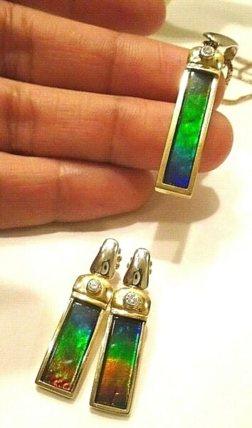 Korite Paris AA Ammolite diamond 2 tone pendant & earrings set 11g $13930.00