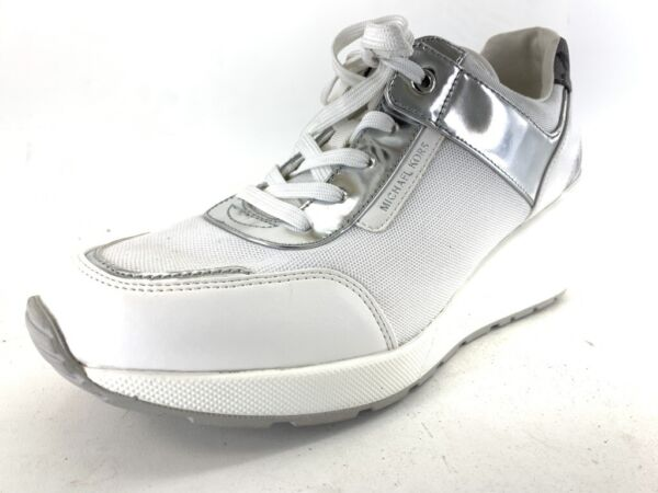 New MICHAEL KORS big logo  Womens Lace up Shoes Wedge Sneakers White Silver