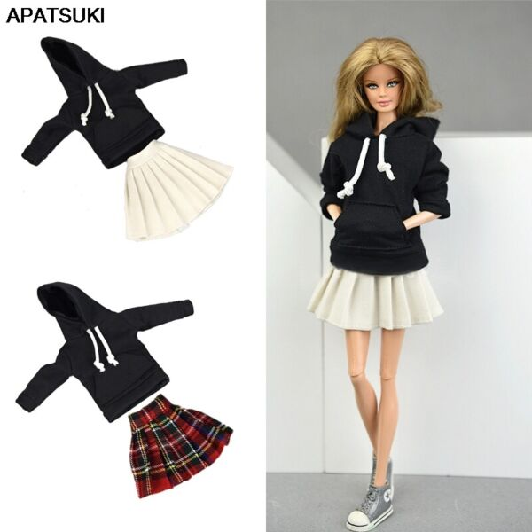 Black Top Hoodies Sweatshirt Pleated Skirts Clothes for 11.5