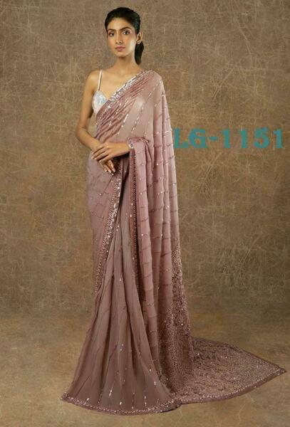 Bollywood Designer Georgette Saree Sequence Sari with Blouse Party wear Saree $44.99