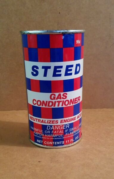 Vtg Steed 11oz Gas Conditioner Metal Can Stamped 95 cents. EUC $7.95