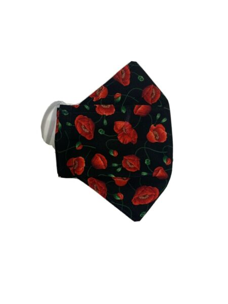 (1) 3D Cotton Face Mask Reusable Full Cover Black Red Sexy Flower Summer Style $5.99