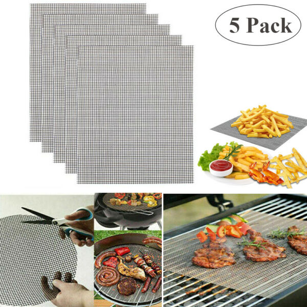 5pcs BBQ Grill Mat Mesh Non Stick Reusable Sheet Resistant Cooking Barbecue Pad