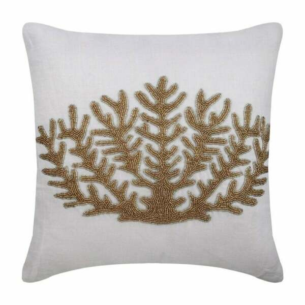 Luxury Linen Couch Cushion Cover 18quot;x18quot; Ivory Coral Gold Coral Hunt $64.44