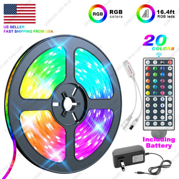 US Local 5M 16.4 ft LED Strip Light SMD 5050 RGB44 Key Remote ControllerPower