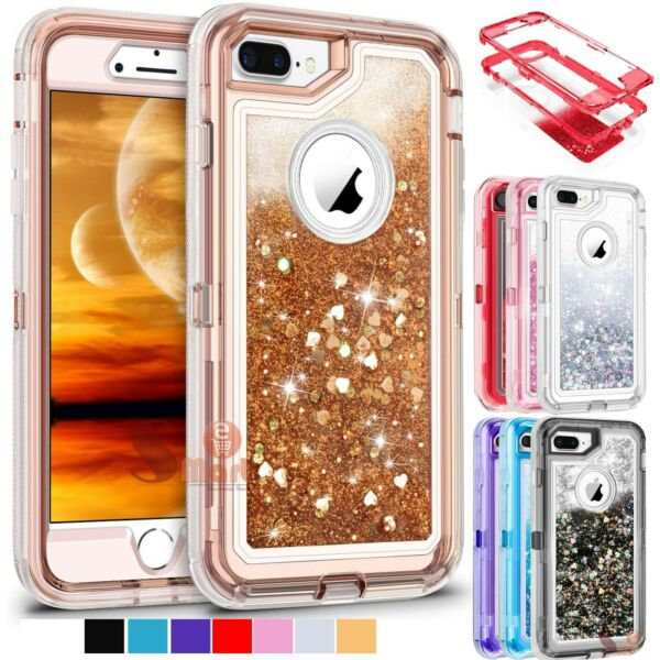 For iPhone 6 6S 7 8 Plus Defender Liquid Glitter Cover Case Fits Otterbox Clip