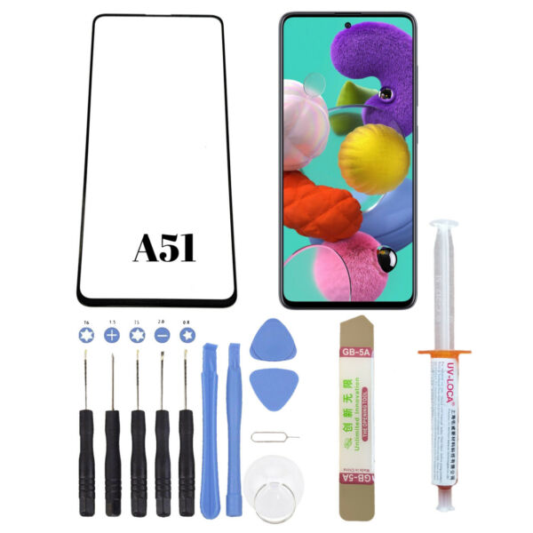 Samsung Galaxy A51 Front Glass Replacement Screen Outer Lens Uv Glue Tools Kit