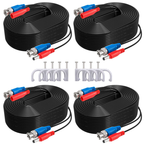 ANNKE 4x100ft Video Power BNC Cable for CCTV Security Camera System Extend Wire