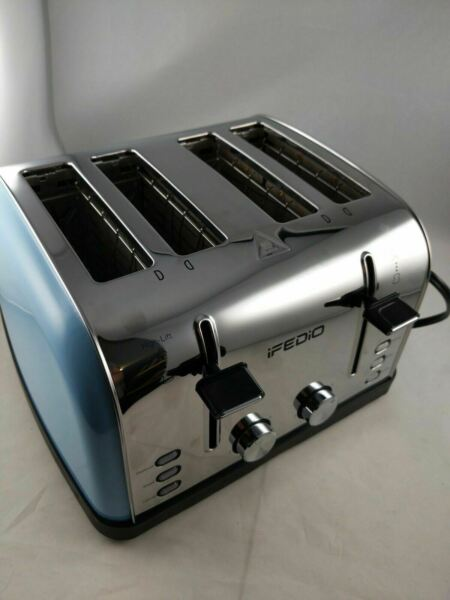 4 Slice Toaster Stainless Steel Blue Extra Wide Slots Cool Touch Defrost Dented