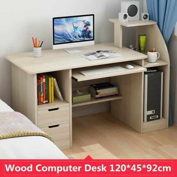 Home Office Laptop Computer Table Study Desk Storage Shelf with Drawers