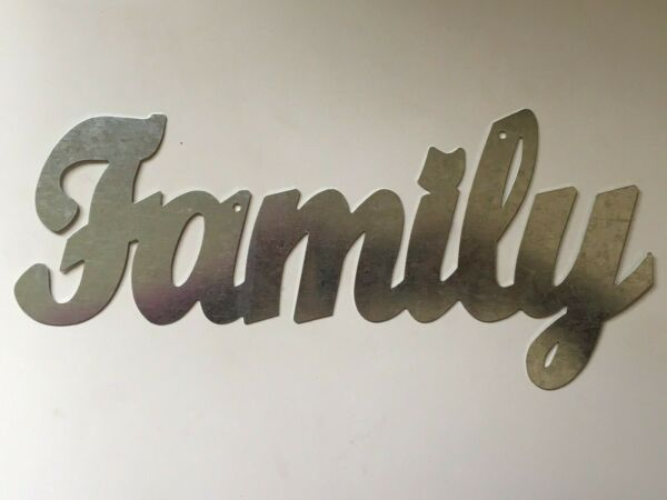 FAMILY Metal Wall Art Word Quote Sign Decor Steel rustic home craft supplies