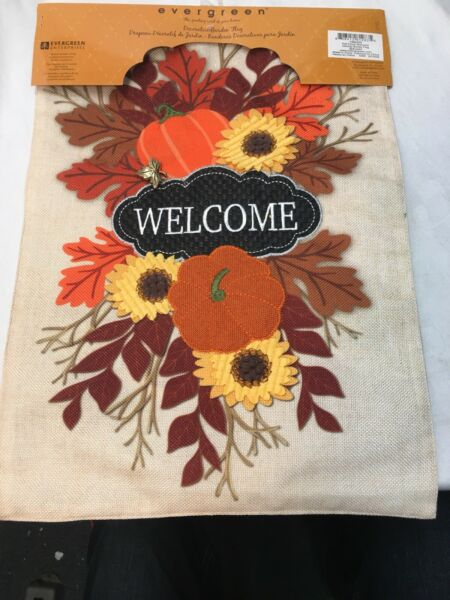 Burlap Boutique Collection Evergreen Welcome Fall Flag