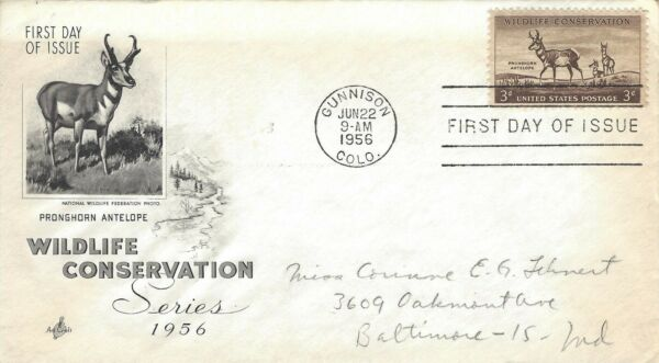 STAMPS US SCOTT 1078 quot;Buck amp; Two Doesquot; 3 CENT 1956 FDC WIITH ART Ponghorn $1.59