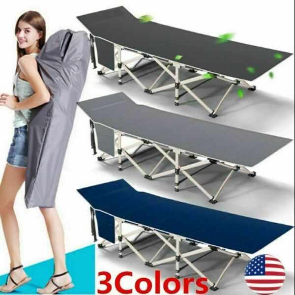 Folding Camping Cot Travel Military Cots Bed with Carry Bag Convenient Pocket