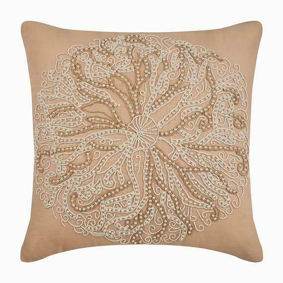 Linen Couch Cushion Cover Handmade 20x20 inch Beige Pearl Sea Urchin $60.41