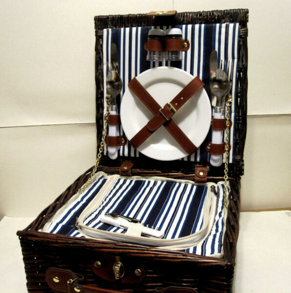 2 Person Woven Willow Brown Shaped Picnic Basket Set with Insulated Cooler $54.99