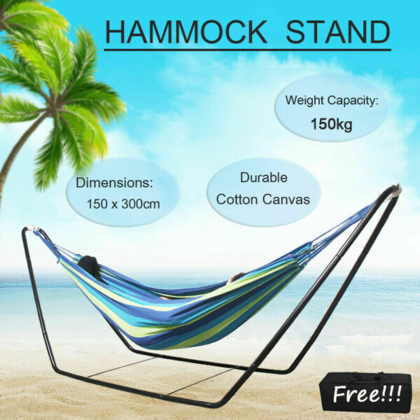 Double Cotton Hammock with Space Saving Steel Stand Garden Yard Outdoor with Bag $49.99