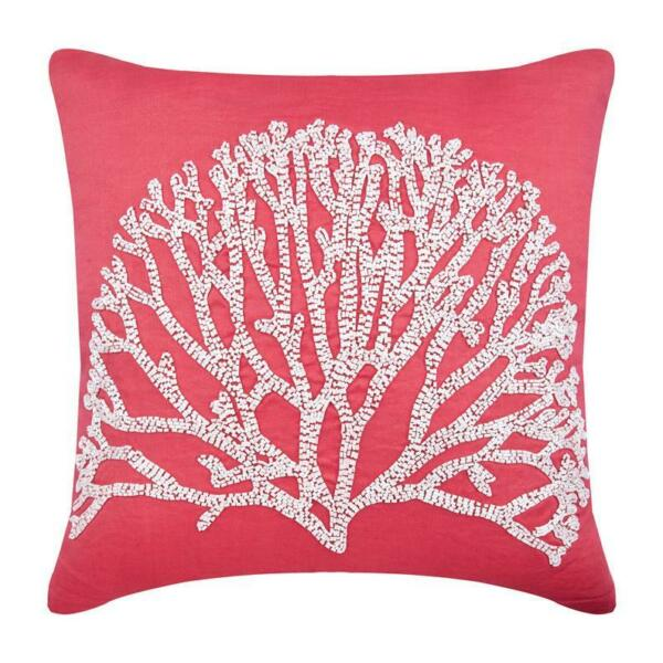 Linen Couch Pillow Cover Luxury 20quot;x20quot; Coral Pink Sea White Forest $57.39