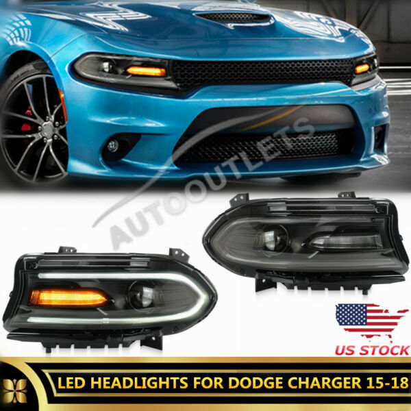 2X LED Projector For Ford Mustang Headlight 18+ Sequential Signal Dual Beam DRL