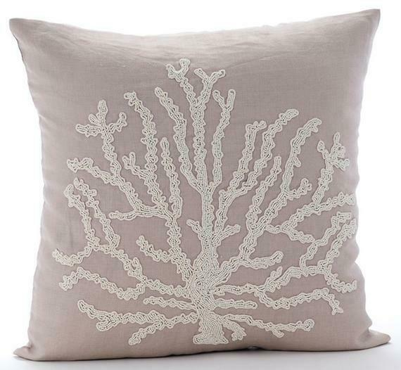 Luxury Linen Couch Throw Pillow 16quot;x16quot; Mocha Beige Corals Sea Shrub $58.32