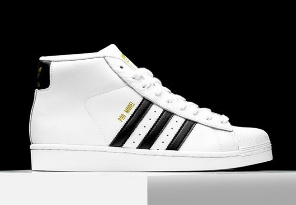 Adidas Superstar Pro Model High Top White & Black Leather Shell Toe US 9 Men