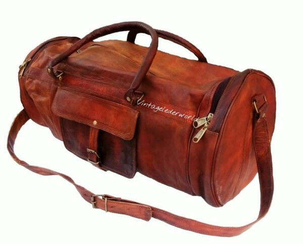 Handcrafted Rustic Dark Brown Leather Duffel Yoga Sports Crossbody Large Goat Ba