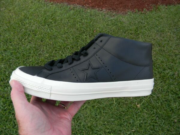 Converse One Star Mid Black Sneakers  Leather  150477C SIZE 12 NEW IN BOX