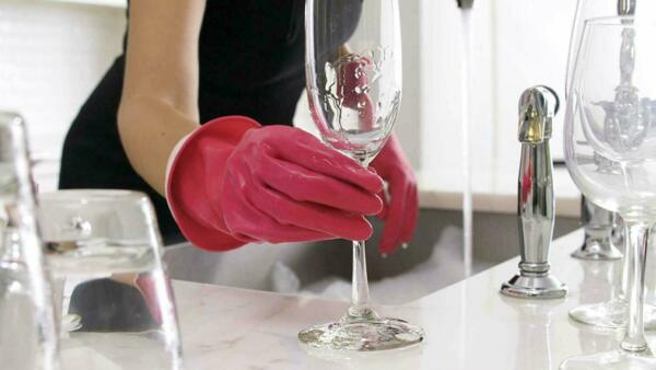 Casabella Waterblock Latex Gloves With Tapered Fit & Double Cuff, Medium - Pink