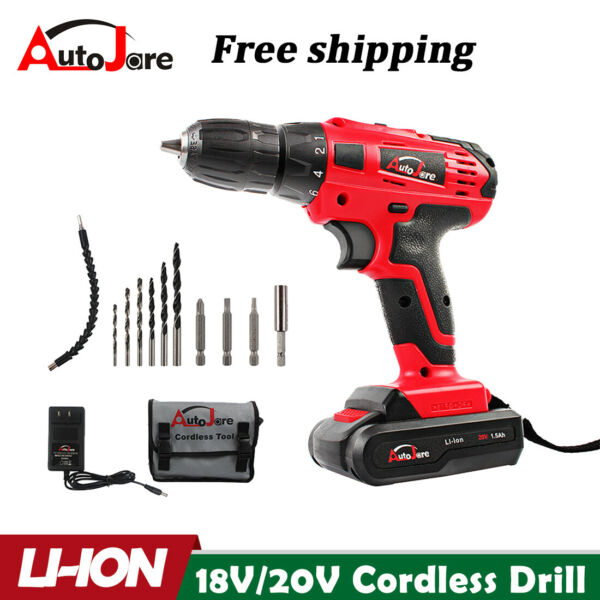 20 Volt Drill 2 Speed Electric Cordless Drill Driver with Bits Set amp; Battery