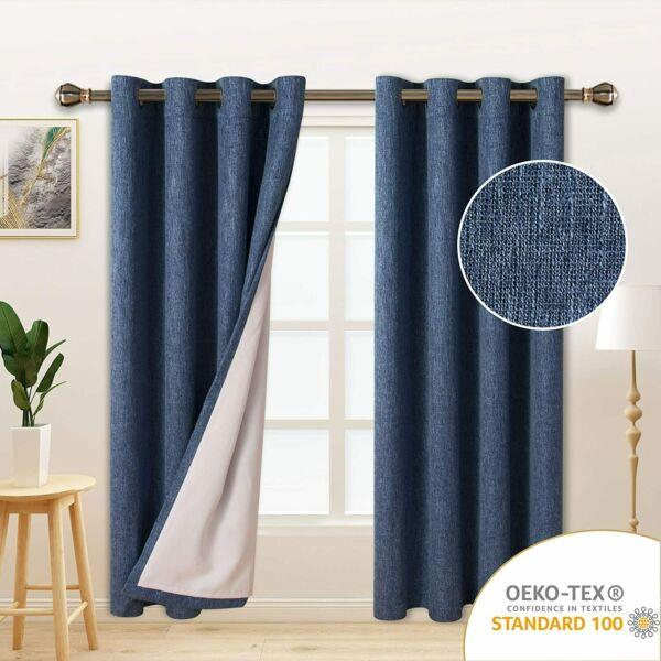 LORDTEX Burlap Linen Look Textured Blackout Curtains for Bedroom with Thermal In