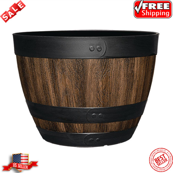 16 In. Resin Wine Barrel Planter Indoor Outdoor Large Flower Pot Garden Decor $20.99